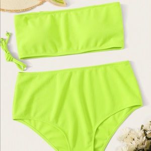 Other - Neon green plus size bathing suit two piece